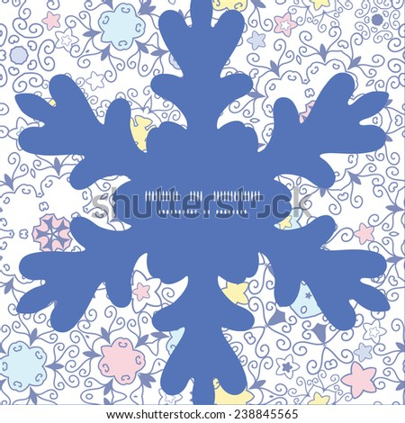 Vector ornamental abstract swirls Christmas snowflake silhouette pattern frame card template - stock vector
