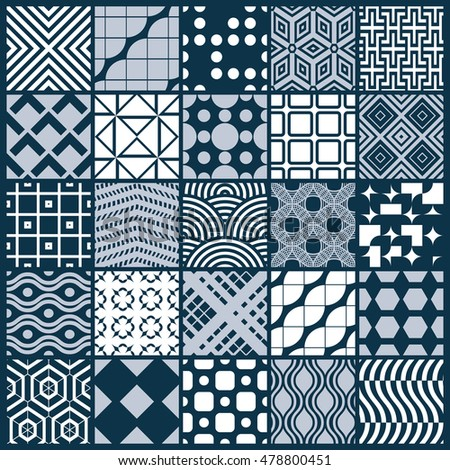Vector ornamental black and white seamless backdrops set, geometric patterns collection. Ornate textures made in modern simple style.