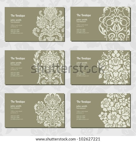 Vector Ornamental Business Card Set. Easy to edit. - stock vector