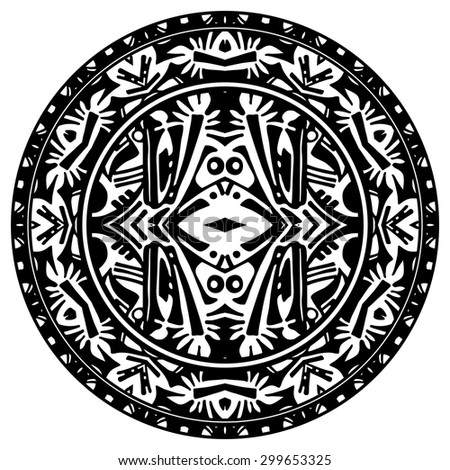 Vector ornamental circle reminiscent Mayan calendar (drawing reminds surprised monkey)