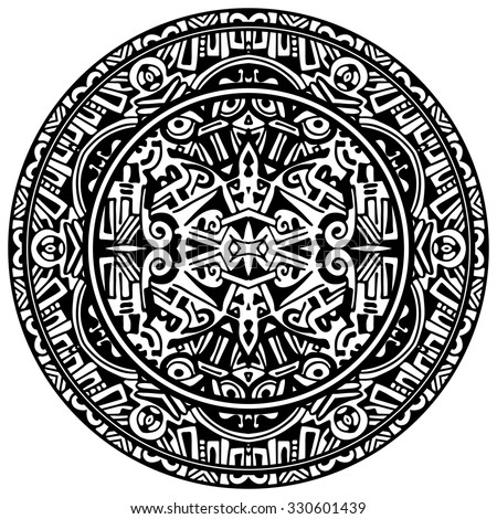 Vector ornamental circle reminiscent of the Aztec calendar - stock vector
