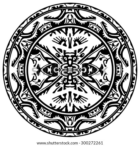 Vector ornamental circle reminiscent of the Mayan calendar
