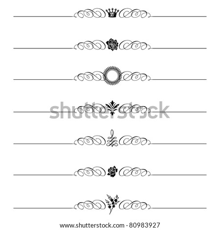 Vector Ornamental Header Set. Easy to edit. Perfect for invitations or announcements. - stock vector