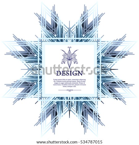 Vector ornamental label of the winter snowflake. Template design for invitation card.