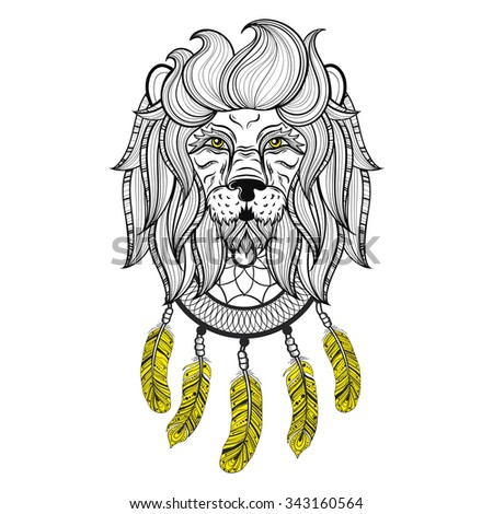 Vector Ornamental Lion With Dreamcatcher Ethnic Patterned Head Hand Drawn Bohemian Tattoo Design In
