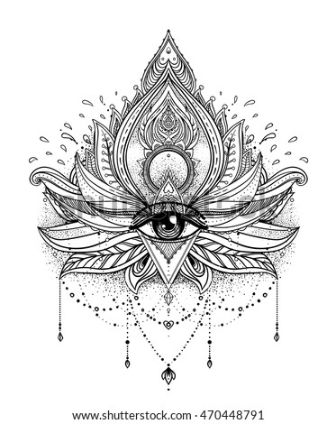 Vector ornamental Lotus flower, all-seeing eye, patterned Indian paisley. Hand drawn illustration. Invitation element. Tattoo, astrology, alchemy, boho and magic symbol. Coloring book for adults.