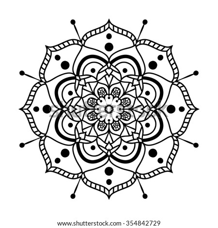 Vector ornamental mandala in the form of abstract flower. Hand drawn floral pattern. Black icon, logo design. Ethnic motif for background, fabric, t-shirt print, graphic elements, web design, etc.  - stock vector