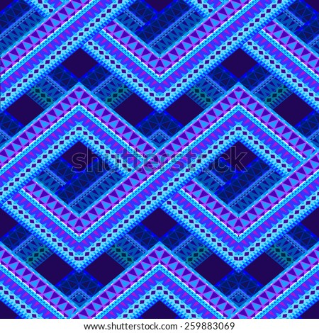 vector ornamental pattern. seamless geometric pattern with zig zags and tribal elements - stock vector