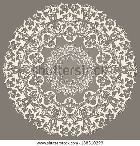Vector ornamental round lace with damask and arabesque elements. Mehndi style. Orient traditional ornament. - stock vector