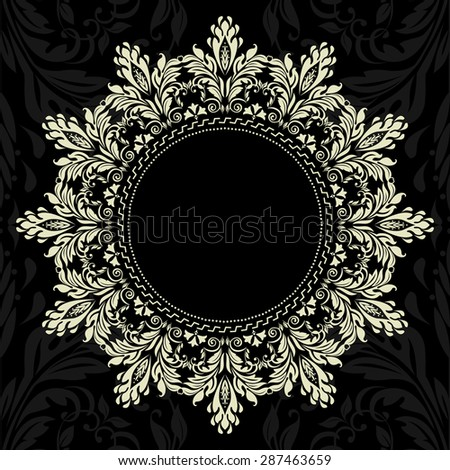 Vector ornamental round lace with damask and arabesque elements. Mehndi style. Orient traditional ornament. Black and gold ornament. - stock vector