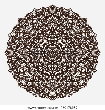 Vector ornamental round lace with damask and arabesque elements. Traditional contrast decor on light background. - stock vector