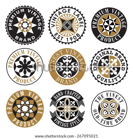 Vector Ornamental Vintage Label Set - stock vector
