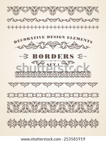 Vector Ornaments Borders. Decorative Design Elements. Vintage style. Set 1. - stock vector