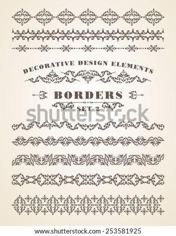Vector Ornaments Borders. Decorative Design Elements. Vintage style. Set 2. - stock vector