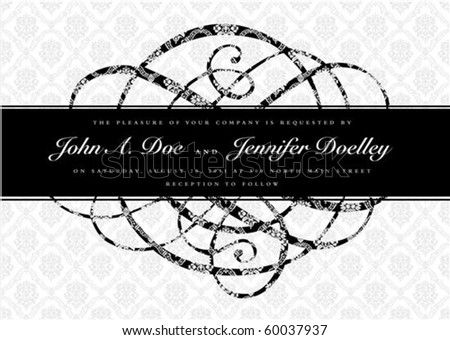 Vector ornate banner and pattern. Seamless pattern is included as a swatch. Easy to edit. - stock vector