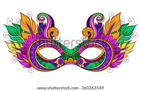 Vector Ornate Colored Mardi Gras Carnival Mask with Decorative Feathers. Object for Greeting Cards with Harlequin Colors, Isolated on White Background - stock vector