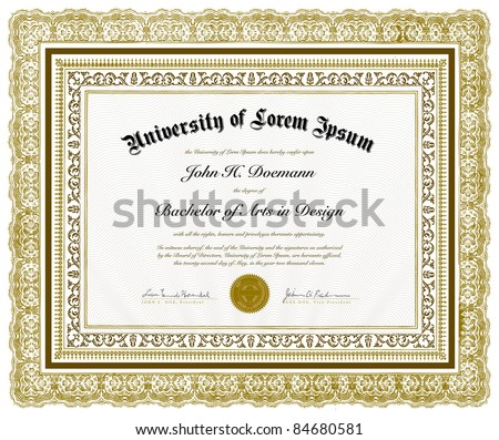 Vector Ornate Diploma and Frame. Easy to edit. Perfect for invitations or announcements. - stock vector
