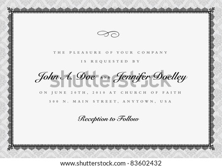 Vector Ornate Frame and Damask Background. Vector ornate frame. Easy to edit. Perfect for invitations or announcements. - stock vector