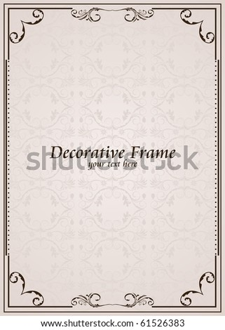 Vector ornate frame. Perfect as invitation or announcement - stock vector