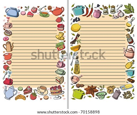 Vector ornate frame. Perfect for recording. Two options. Kitchen theme. - stock vector
