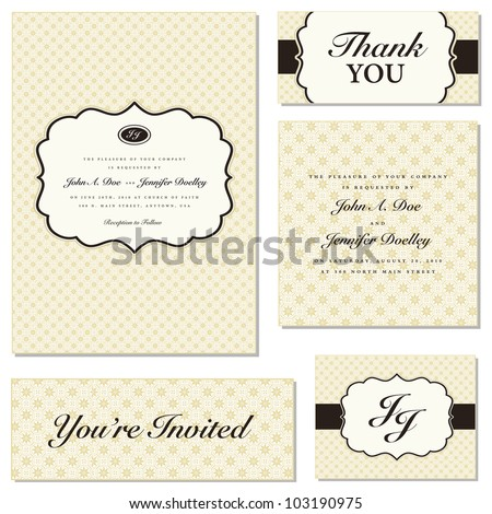 Vector Ornate Frame Set. Easy to edit. Perfect for invitations or announcements. - stock vector