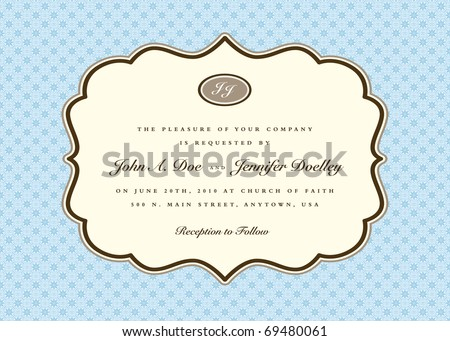 Vector ornate frame with sample text. Easy to edit. Perfect for invitations or announcements. - stock vector