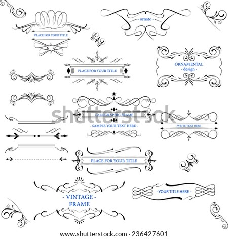 Vector Ornate frames with decorative lines, vintage elements for your design. - stock vector