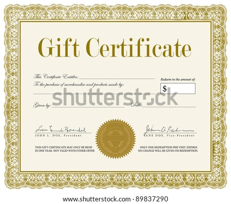 Vector Ornate Gift Certificate. Easy to edit. Great for ornate certificates, diplomas, and awards.