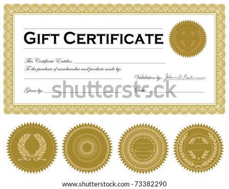 Vector ornate gold frame and ornaments. Easy to edit. Perfect for certificates or announcements. - stock vector
