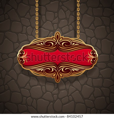 Vector ornate gold vintage signboard hanging on chains against a stone wall - stock vector