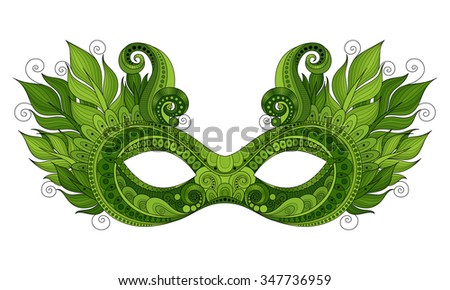 Vector Ornate Green Mardi Gras Carnival Mask with Decorative Feathers. Object for Greeting Cards, Isolated on White Background - stock vector