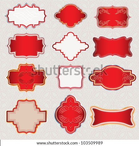 vector ornate red labels for different use - stock vector