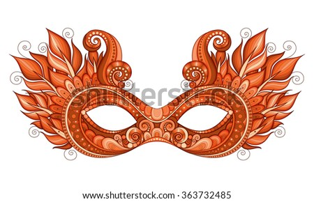 Vector Ornate Red Mardi Gras Carnival Mask with Decorative Feathers. Object for Greeting Cards, Isolated on White Background - stock vector