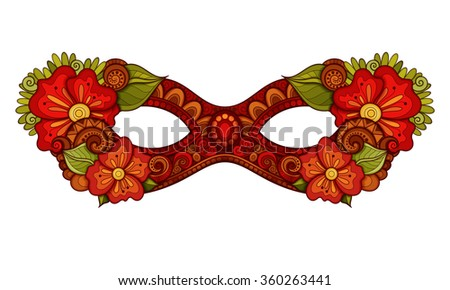 Vector Ornate Red Mardi Gras Carnival Mask with Decorative Flowers. Object for Greeting Cards, Isolated on White Background