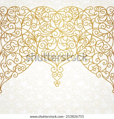 Vector ornate seamless border in Eastern style. Line art element for design, place for text. Ornamental vintage pattern for wedding invitations and greeting cards. Traditional gold decor. - stock vector