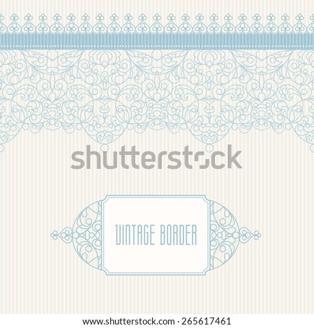 Vector ornate seamless border in Eastern style. Line art element for design, place for text. Ornamental vintage frame for wedding invitations and greeting cards. Traditional outline decor. - stock vector
