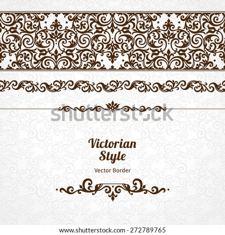 Vector ornate seamless border in Victorian style. Gorgeous element for design, place for text. Ornamental vintage pattern for wedding invitations, birthday and greeting cards. Traditional black decor. - stock vector
