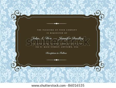 Vector Ornate Swirl Corner Frame and Pattern. Easy to edit. Perfect for invitations or announcements. - stock vector