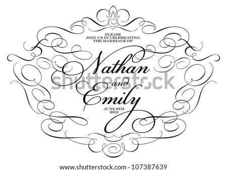 Vector Ornate Wedding  Frame. Easy to edit. Perfect for invitations or announcements. - stock vector