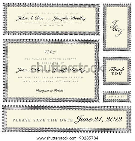 Vector Ornate Wedding Frame Set. Easy to edit. Perfect for invitations or announcements. - stock vector