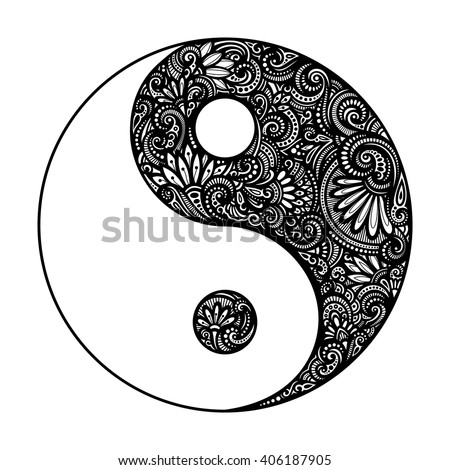 Vector Ornate Yin Yang Symbol. Beautiful Decorative Emblem. Black and White Illustration - stock vector
