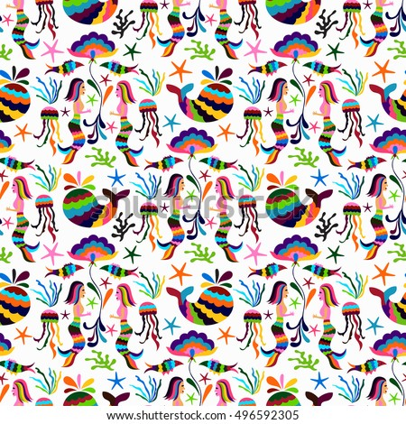 Vector Otomi Style Seamless Pattern with Marine Life