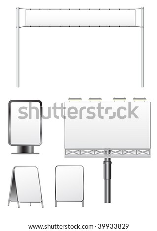 vector outdoor billboard set isolated on white - stock vector