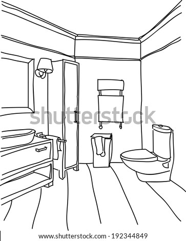 bathroom outline stock images, royalty-free images & vectors