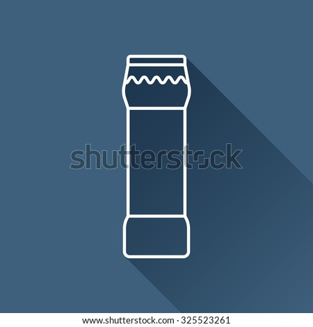 Vector outline bottle with cleaning powder for kitchen, bathroom, toilet on dark blue background with long shadow