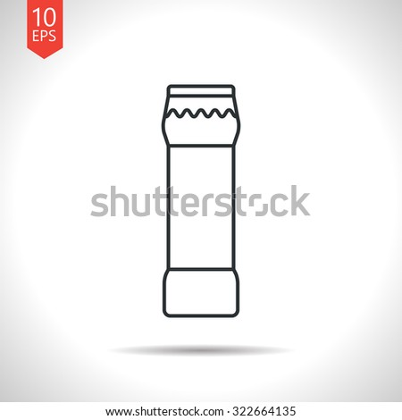 Vector outline classic grey bottle with cleaning powder for kitchen, bathroom, toilet on white background
