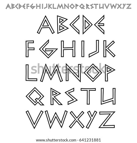 Vector Outline Font Stylized As Ancient Greek Writing Chopped Sans Serif Stock