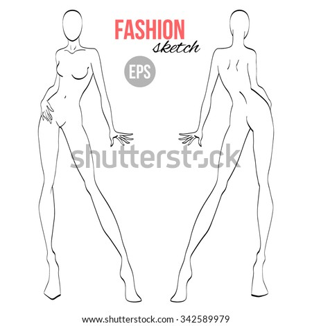 Vector outline girl model template for fashion sketching - stock vector