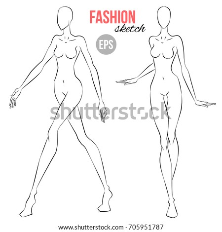Vector outline girl model template fashion stock vector 705951787 vector outline girl model template for fashion sketching illustration of womens figure for designers of pronofoot35fo Gallery