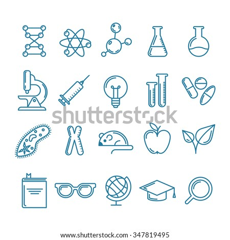 Vector outline icons set and design elements. Research, technologies and innovation symbols. Line logo collection. Concept for science, education, medical, chemical industry themes. - stock vector